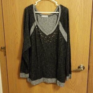 Maurices Black & Gray Jeweled V-Neck Sweater